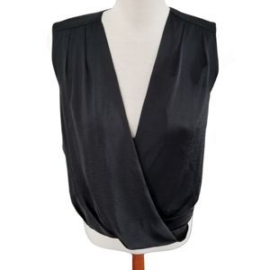 Mexx Metropolitan black silky surplice top